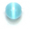 "Cat Eye Beads 4mm Round Aqua Strung 16"" Fibre Optic"
